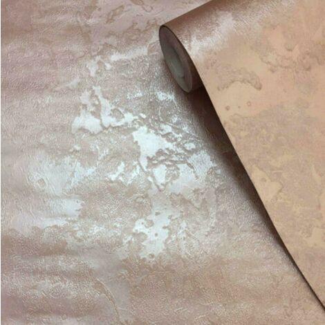 Texture Plain Plastered Industrial Rose Gold Metallic Shimmer Muriva Wallpaper