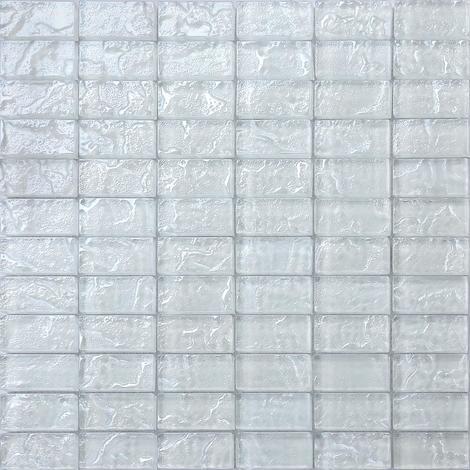 Textured Lava Pearl White Brick Bathroom Feature Mosaic Tiles MT0118
