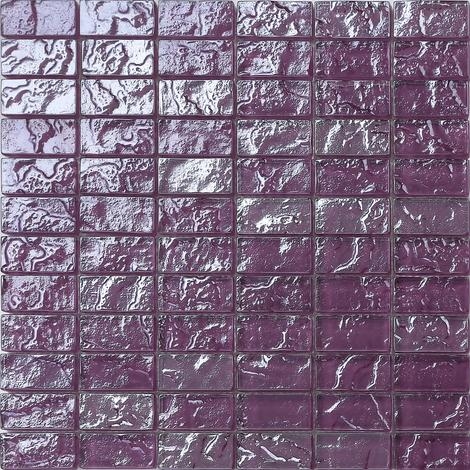 Textured Lava Purple Brick Bathroom Kitchen Feature Mosaic Tiles MT0119