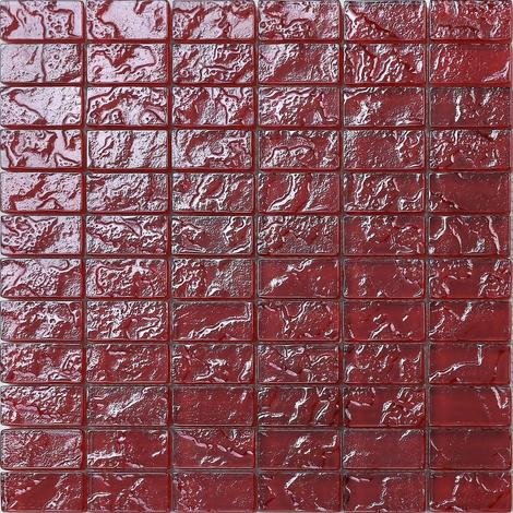 Textured Lava Red Brick Bathroom Kitchen Feature Mosaic Tiles MT0123