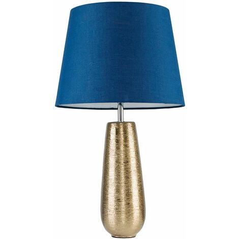 Textured Metallic Gold Ceramic Touch Table Lamp + Navy Blue Light Shade - Gold