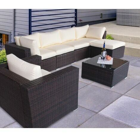 The Astbury - 7 Seat Modular Corner Rattan Sofa Set - brown