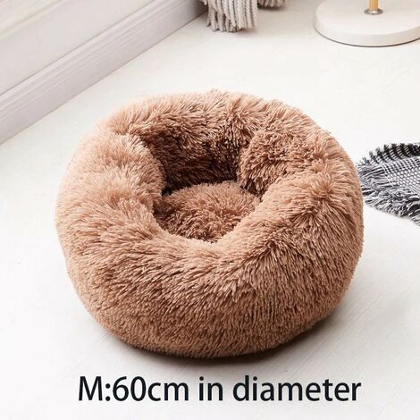 """main image of """"The Basket of Dog Round Cat Cushion Basket, Dog Cat Bed is super soft, comfortable and cute, suitable for medium-sized cats, dogs and small dogs, M, 60 cm, brown"""""""