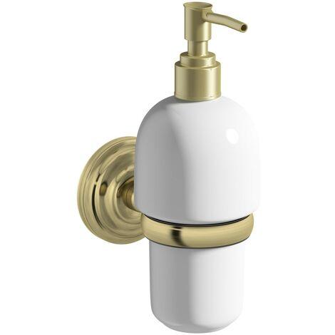 The Bath Co. 1805 antique gold soap dispenser and holder