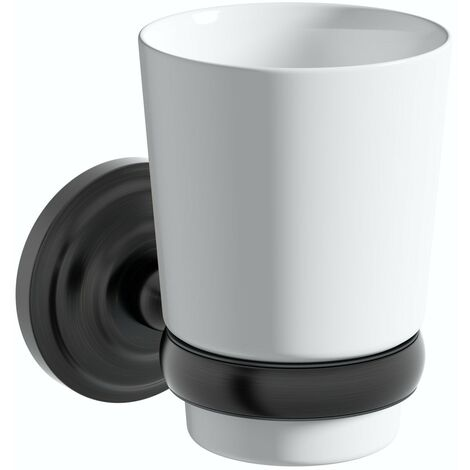 The Bath Co. 1805 black tumbler and holder