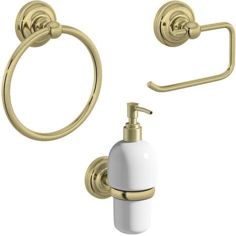 The Bath Co. 1805 gold 3 piece cloak room accessory set