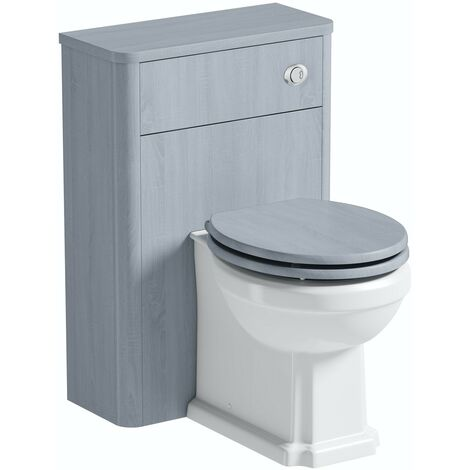 The Bath Co. Beaumont powder blue back to wall unit and traditional toilet with wooden seat