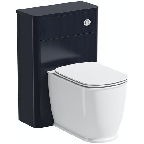 The Bath Co. Beaumont sapphire blue back to wall unit and toilet with slim soft close seat