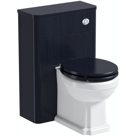The Bath Co. Beaumont sapphire blue back to wall unit and traditional toilet with wooden seat