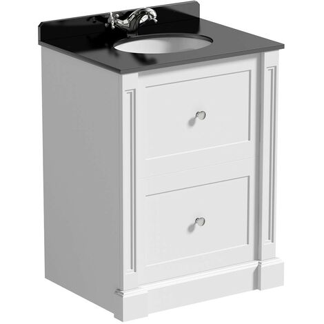 The Bath Co. Burghley matt white floorstanding vanity unit and black marble basin 650mm