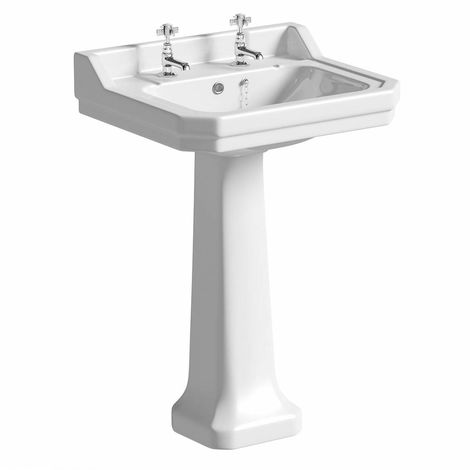 The Bath Co. Camberley 2 tap hole full pedestal basin 550mm