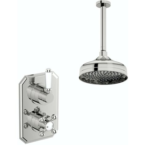 The Bath Co. Camberley concealed thermostatic mixer shower with ceiling arm