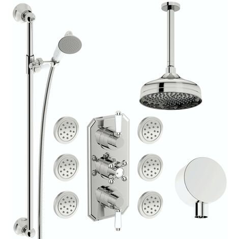 The Bath Co. Camberley concealed thermostatic mixer shower with ceiling arm, slider rail and body jets