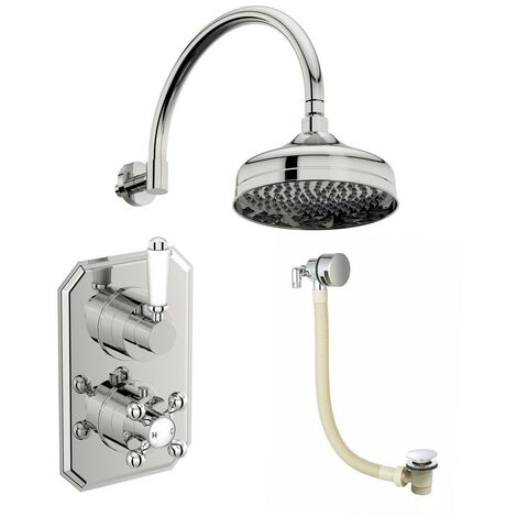 The Bath Co. Camberley concealed thermostatic mixer shower with wall arm and bath filler