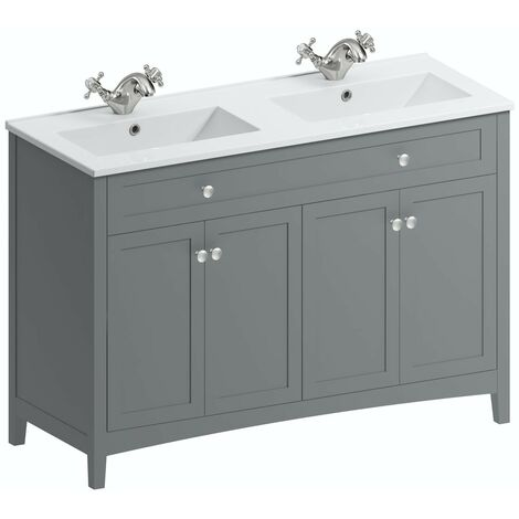 The Bath Co. Camberley satin grey floorstanding double vanity unit and ceramic basin 1210mm