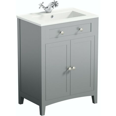 The Bath Co. Camberley satin grey floorstanding vanity unit and ceramic basin 600mm