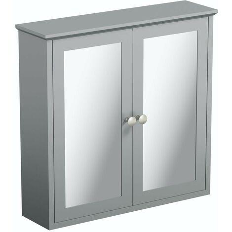 The Bath Co. Camberley satin grey mirror cabinet 598 x 620mm