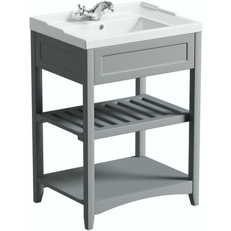 The Bath Co. Camberley satin grey washstand and traditional basin 600mm
