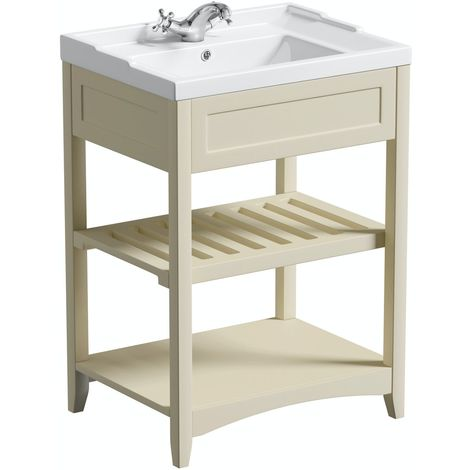 The Bath Co. Camberley satin ivory washstand and traditional basin 600mm