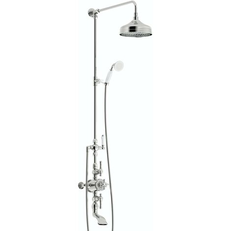 The Bath Co. Camberley thermostatic exposed mixer shower with bath filler
