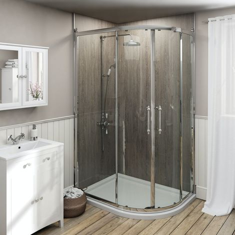 The Bath Co. Camberley traditional 8mm offset quadrant shower enclosure 900 x 760