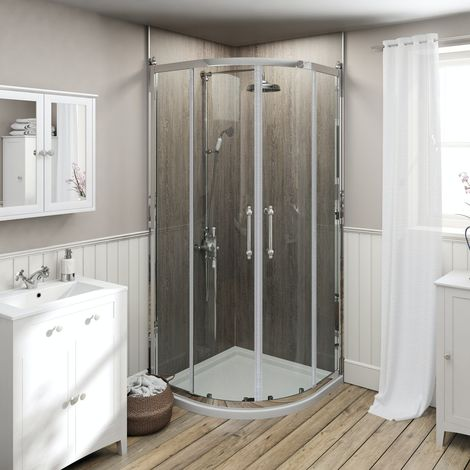 The Bath Co. Camberley traditional 8mm quadrant shower enclosure 800 x 800