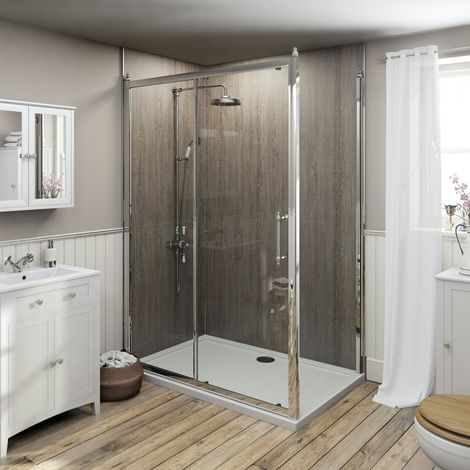 The Bath Co. Camberley traditional 8mm shower enclosure 1400 x 900 with thermostatic exposed mixer shower