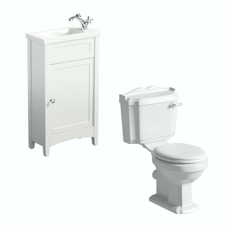 The Bath Co. Camberley white cloakroom unit suite with traditional close coupled toilet