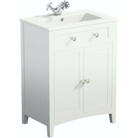 The Bath Co. Camberley white floorstanding vanity unit and ceramic basin 600mm
