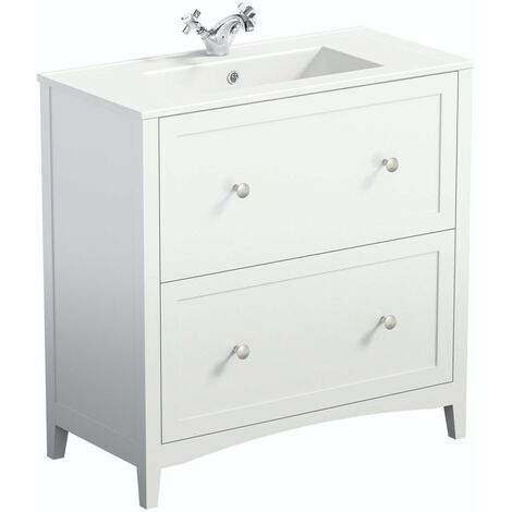 The Bath Co. Camberley white floorstanding vanity unit and ceramic basin 800mm