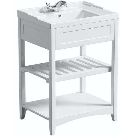 The Bath Co. Camberley white washstand and traditional basin 600mm