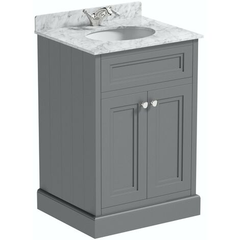 The Bath Co. Chartham slate matt grey floorstanding vanity unit and white marble basin 600mm