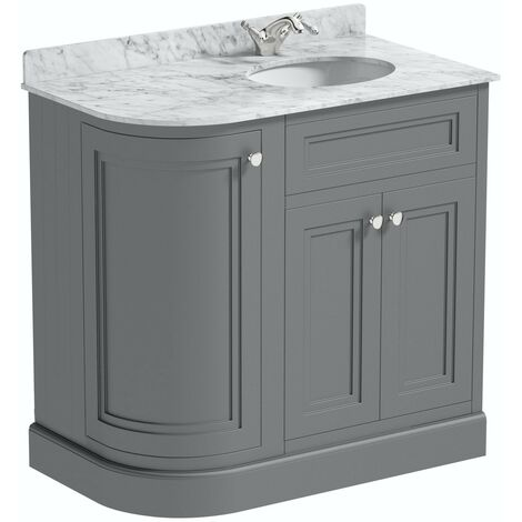 The Bath Co. Chartham slate matt grey left handed floorstanding vanity unit and white marble basin 900mm