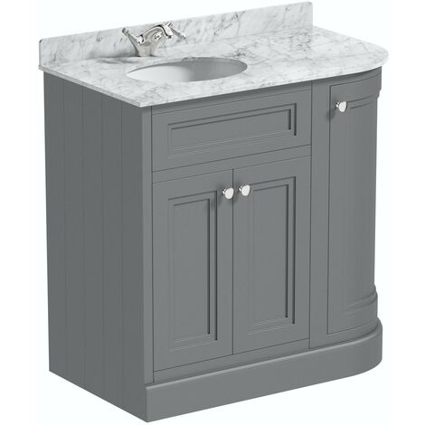 The Bath Co. Chartham slate matt grey right handed floorstanding vanity unit and white marble basin 900mm