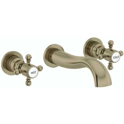 The Bath Co. Dalston antique bronze wall mounted basin mixer tap