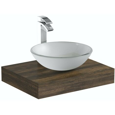 The Bath Co. Dalston countertop shelf 600mm with Mackintosh white glass countertop basin, tap and waste