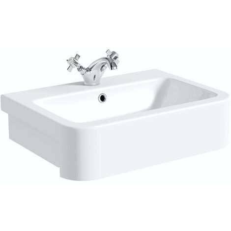 The Bath Co. Dulwich 1 tap hole semi recessed countertop basin 565mm