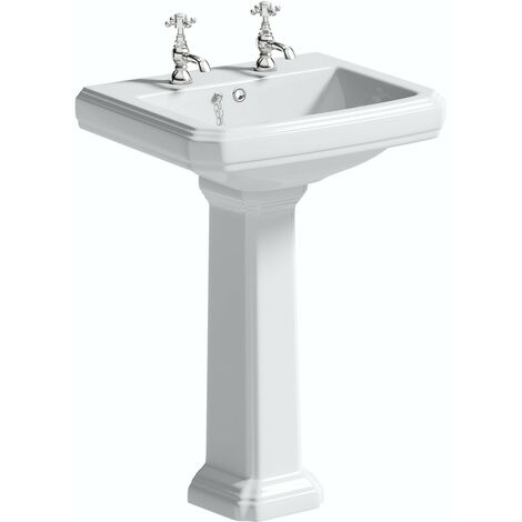 The Bath Co. Dulwich 2 tap hole full pedestal basin 585mm