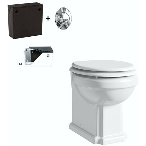 The Bath Co. Dulwich back to wall toilet with white seat and concealed cistern