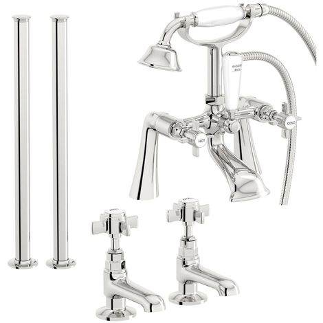 The Bath Co. Dulwich basin tap and bath shower mixer adjustable standpipe tap pack