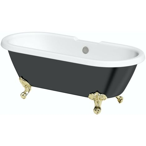 The Bath Co. Dulwich black roll top freestanding bath with gold claw feet 1695 x 740