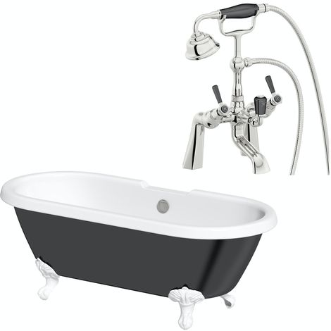 The Bath Co. Dulwich black roll top freestanding bath with white claw feet 1695 x 740 with free tap