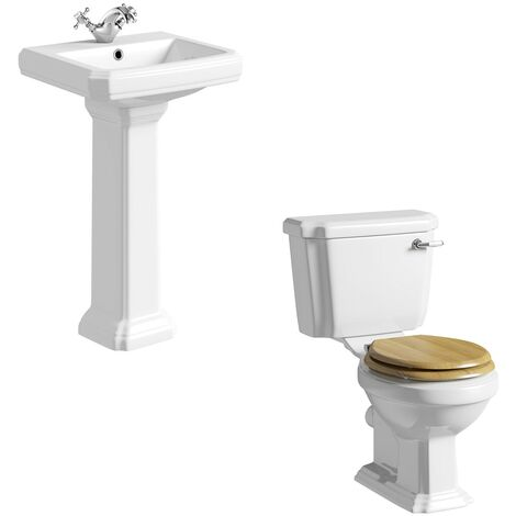 The Bath Co. Dulwich cloakroom suite with solid wood oak seat and full pedestal basin 571mm