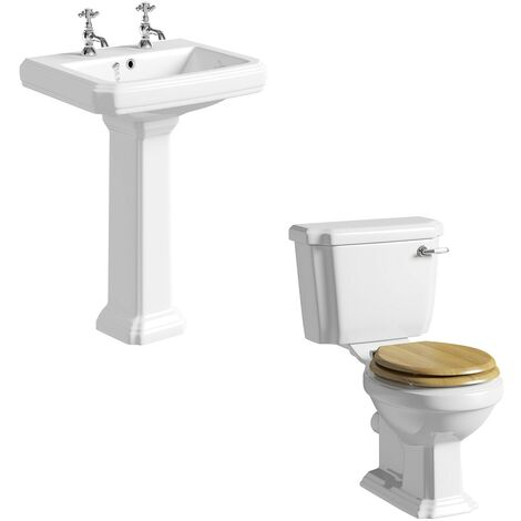 The Bath Co. Dulwich cloakroom suite with solid wood oak seat and full pedestal basin 585mm