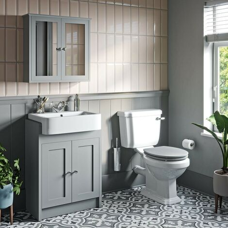 The Bath Co. Dulwich close coupled toilet and stone grey vanity unit suite 600mm
