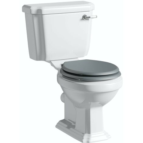 The Bath Co. Dulwich close coupled toilet inc stone grey soft close seat