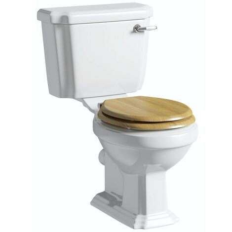 The Bath Co. Dulwich close coupled toilet with solid oak wooden toilet