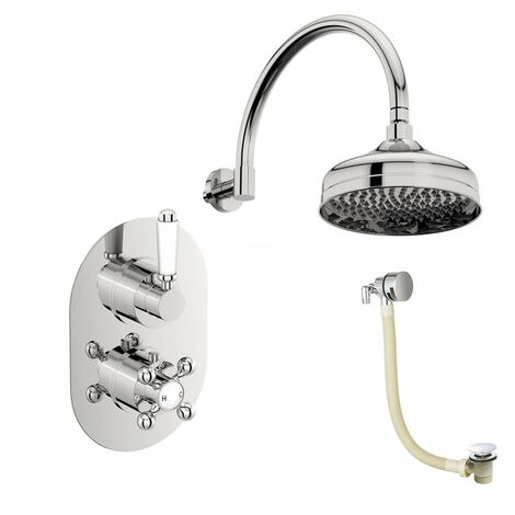 The Bath Co. Dulwich concealed thermostatic mixer shower with ceiling arm and bath filler