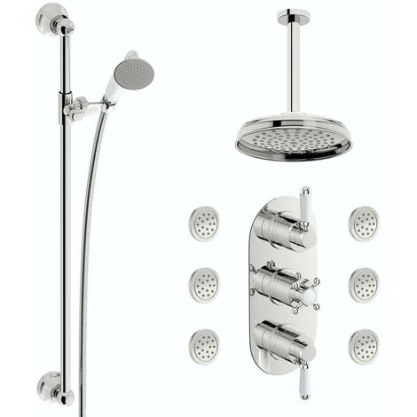 The Bath Co. Dulwich concealed thermostatic mixer shower with ceiling arm, slider rail and body jets