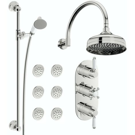 The Bath Co. Dulwich concealed thermostatic mixer shower with wall arm, slider rail and body jets